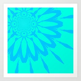 The Modern Flower Aqua Turquoise Blue Art Print