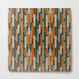 Modern Tabs in Brown, Teal, Burnt Orange Metal Print