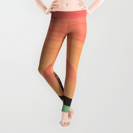 Palm trees silhouettes on colorful tropical sunset hand drawn illustration Leggings