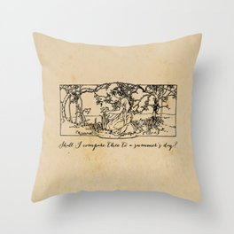 Shakespeare - Sonnet 18 - Summers Day Throw Pillow