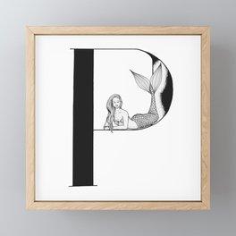 Mermaid Alphabet Series - P Framed Mini Art Print