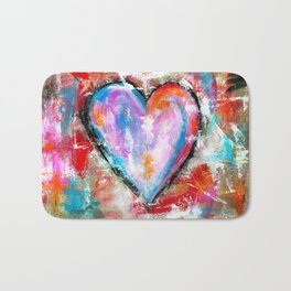 Reckless Heart, Abstract Painting Bath Mat