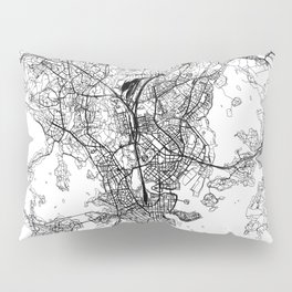 Helsinki White Map Pillow Sham