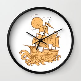 Caravel Sailing Ship Moon Drawing Wall Clock