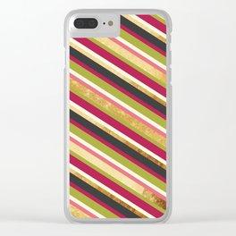 Pastel pink magenta green yellow gold black elegant stripes Clear iPhone Case