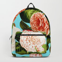 Vintage & Shabby Chic - Teal Floral Camellia  Flowers Watercolor Pattern Backpack