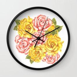 Pretty Watercolor Flowers Wall Clock