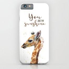 You Are My Sunshine Giraffe Nursery Animals Watercolor Art iPhone Case