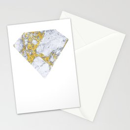 white - blue marble design with gold overlays Stationery Cards
