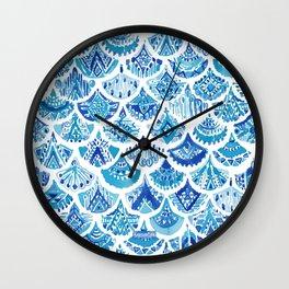 AZTEC MERMAID Tribal Scallop Pattern Wall Clock