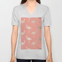 Gold Flamingo Pattern Coral Pink Unisex V-Neck