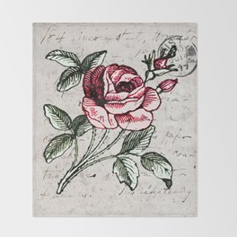 Shabby chic vintage rose and calligraphy Throw Blanket