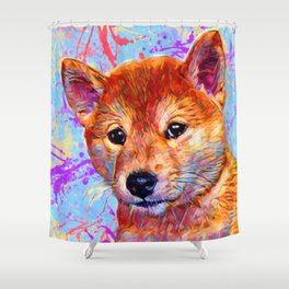 Shiba Inu Puppy Shower Curtain