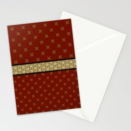 Gold Red X ribbon Pattern Design Stationery Cards