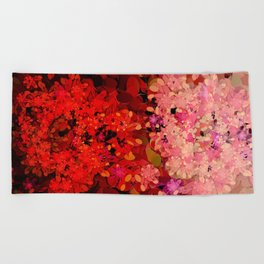 Two Different Worlds -- Floral Pattern Beach Towel