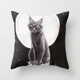 Black Cat and the Moon Throw Pillow