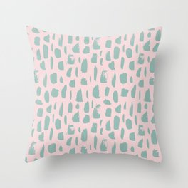 Handdrawn mint drops and dots on pink -Mix & Match with Simplicty of life Throw Pillow