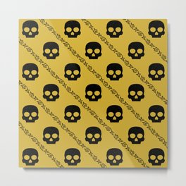 Skulls & Flowers - Gold V2 Metal Print