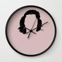 marylin monroe Wall Clocks featuring Marylin by Jeanne Bornet