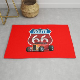 Route 66 Sign with Classic American Red Hotrod Rug
