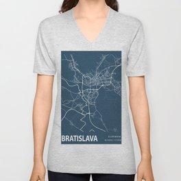 Bratislava Blueprint Street Map, Bratislava Colour Map Prints Unisex V-Neck