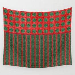 Stripes and Polka-dots in Christmas Red and Green Wall Tapestry