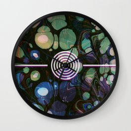 Abstract Painting - Marbling Art 02- Fluid Painting - Blue Green, Black Abstract - Modern Abstract Wall Clock