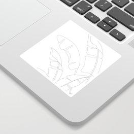 Minimal Line Art Banana Leaves Sticker