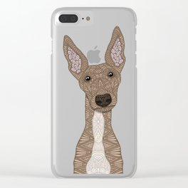 Cute Fawn Greyhound with white belly Clear iPhone Case