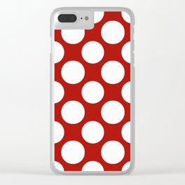White & Red Navy Polkadot Pattern Clear iPhone Case