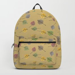 Colorado Aspen Tree Leaves Hand-painted Watercolors in Golden Autumn Shades on Jute Beige Backpack