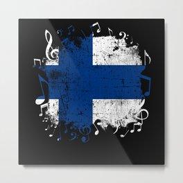 Finland Music Flag Metal Print