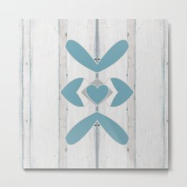 Decorative Abstract Heart Design over Wood Metal Print