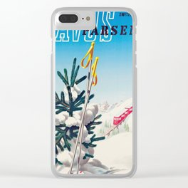 Davos, Vintage Ski Travel Poster Clear iPhone Case