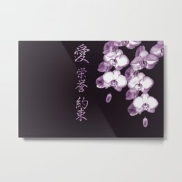 Japanese Orchids in Plum Metal Print
