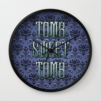 haunted mansion Wall Clocks featuring Haunted Mansion - Tomb Sweet Tomb by Brianna