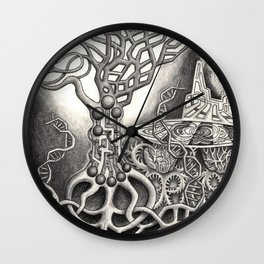 BioTechnological DNA Tree and Abstract Cityscape Wall Clock