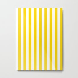 Narrow Vertical Stripes - White and Gold Yellow Metal Print