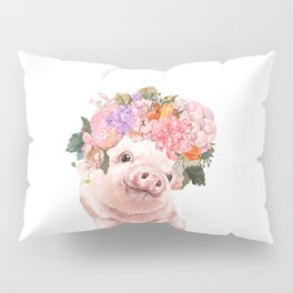 Lovely Baby Pig with Flowers Crown Pillow Sham