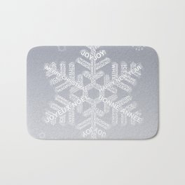 Typographic Snowflake Greetings - Silver Grey Bath Mat