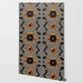 Urban Tribal Pattern No.6 - Aztec - Concrete and Wood Wallpaper