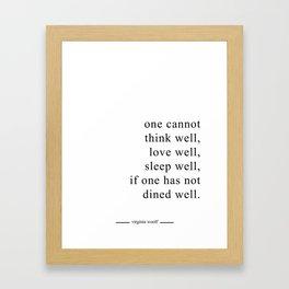 DINE WELL Framed Art Print