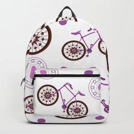 Bike Illustration Madala Pink And Brown Backpack