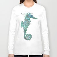 greg guillemin Long Sleeve T-shirts featuring Seahorse Abstract by Greg Phillips by SquirrelSix