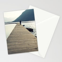 Wooden lake pier Stationery Cards