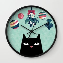 Mistletoe? (Black Cat) Wall Clock