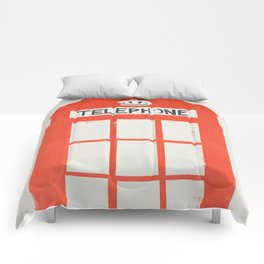 Red London Telephone Box Comforters