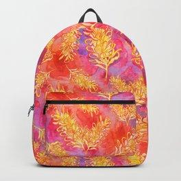 Watercolour Australian Native Floral Print - Grevillea Flowers Backpack
