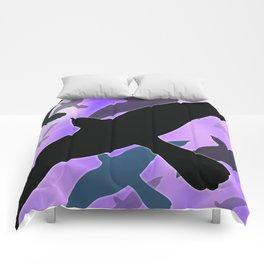 Flock over Purple Sky Comforters