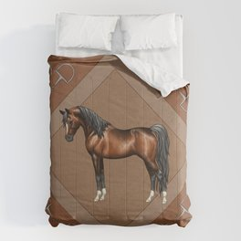 Dark Bay Arabian Horse with 4 White Socks Comforters